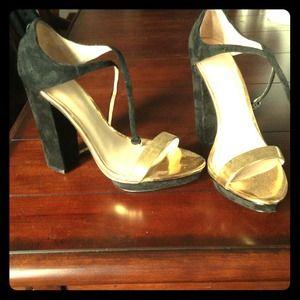 Zara black suede and metallic gold heels