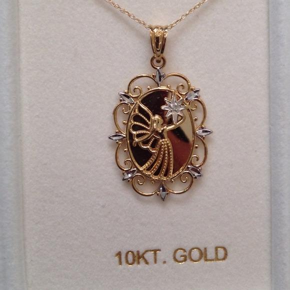 Jewelry sold new 10k gold angel pendant necklace poshmark m50f9b663e4ebea27f900bd97 aloadofball Images