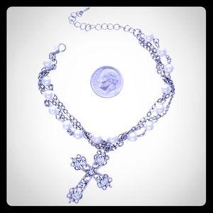 Jewelry - Faux Pearl Cross Bracelet