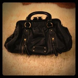 Handbags - NWOT Black Vegan Leather Purse with Gold Hardware