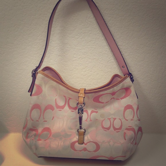 83% off Coach Handbags - Pink & White Coach Purse from Courtney's ...