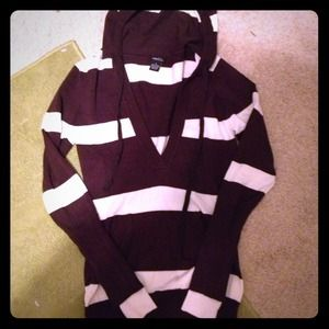 Brown and white striped, hooded sweater!