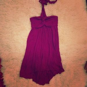 Dresses & Skirts - NWOT High-low Raspberry Jersey Dress with Tie Top