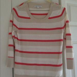 Taupe, white and orange stripe sweater
