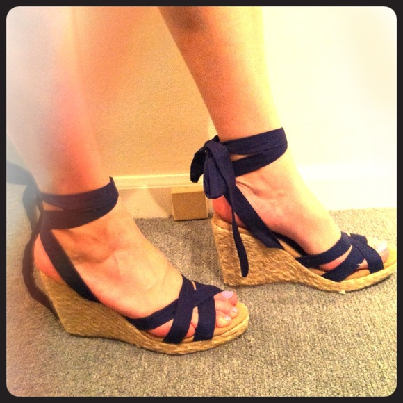 874e0b02c6f Very Volatile Shoes | Hold Espadrilles Wwoven Wedges Navy Blue Ties ...