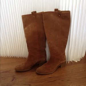 Kate Spade Tan Suede Boots with Red Stitching