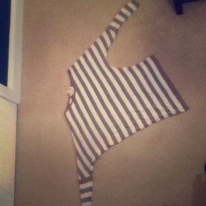 A Derek Heart, medium stripped shirt.