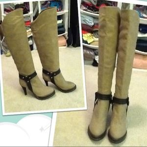 Shoes - Beige Riding Boots Style