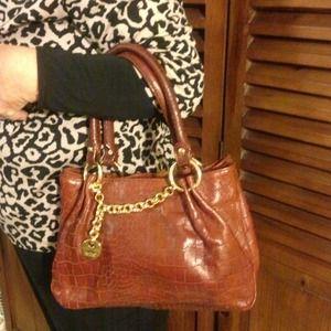 Perlina Brown Leather Mock Croc Handbag