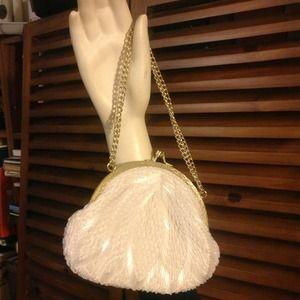 Vintage Merville White Beaded Evening Bag