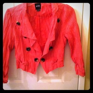Pink XOXO blazer with brown buttons