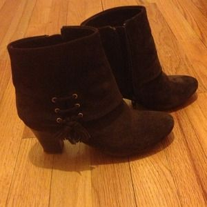 """Boots - Gorgeous coffee brown suede booties  ~2.0-2.5"""""""