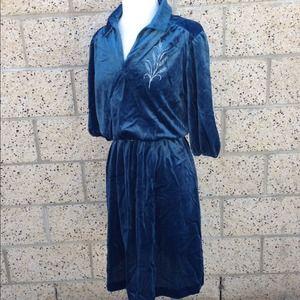 Vintage Velvet Dark Turquoise Dress