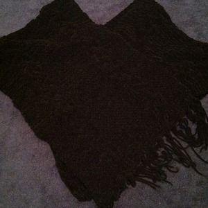 Black soft poncho