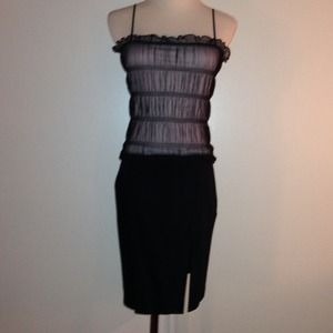 Express Pink with Black Overlay Mesh Top