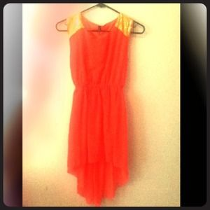 High Low Coral Dress with Gold Sequin Shoulders