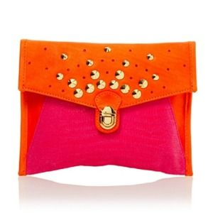 Be & D Clutches & Wallets - Last Day! Rasa Studded Push-Lock Envelope Fuchsia
