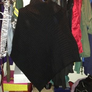 Black sweater poncho