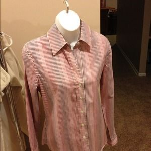 Banana Republic button down. Pink red white Size S