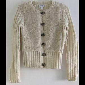 Loft Creme Faux Fur Sweater