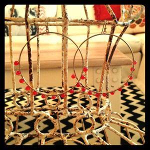 Large Gold Hoop Earrings w/ Red Beads
