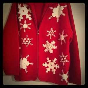 Red Wool Jacket with white snowflakes