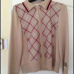 St. John knit golf sweater full zip