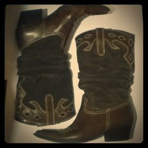 Rampage Shoes - Rampage Brown Leather Cowgirl Cowboy Boots 8.5 M