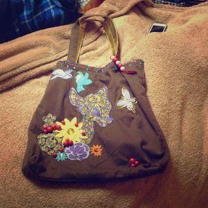 Handbags - Bambi Brown and Rhinestone Tote NWOT