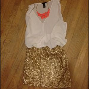 Forever 21 Dresses & Skirts - Gold Sequin Skirt/Dress