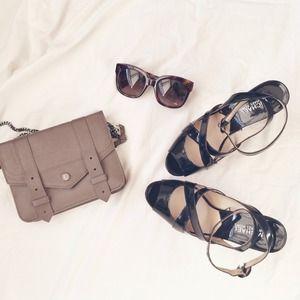Michael Kors patent strappy cork heels