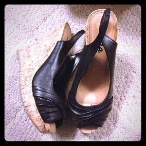 Black platform wedge peep toe shoes