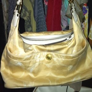 auth coach gold medium bag