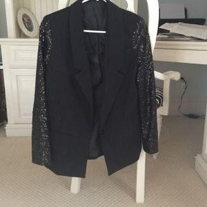 Black Blazer with Sequined Arms
