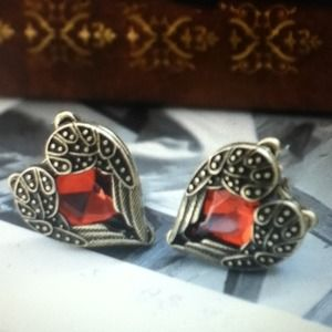 Jewelry - Angel Wing Red Rhinestone Bronze Earrings NEW