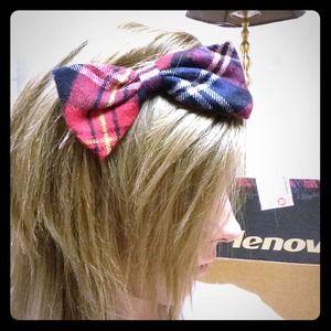 Accessories - Plaid Bow Headband