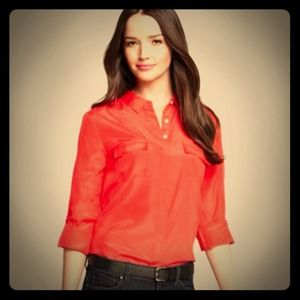 Ann Taylor Red Silk Camp Shirt 6