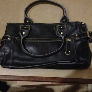 HOLD for bundle!!! Black Leather Prague purse