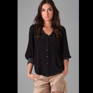Ella Moss Black Bodega Silk Button Down Blouse S