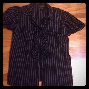 💢💢 SOLD 💢💢 Black Shirt w/White Pin Stripes