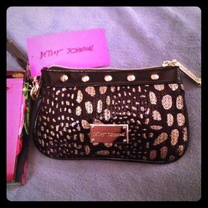 Betsey Johnson Clutches & Wallets - Betsey Johnson Black Spots Wristlet