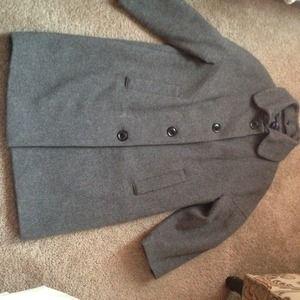 Gap gray 3/4 length sleeve wool coat size small