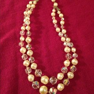Laguna vintage pearl & crystal vintage necklace
