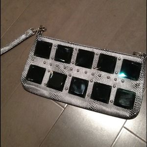 Clutches & Wallets - Jeweled silver wristlet clutch
