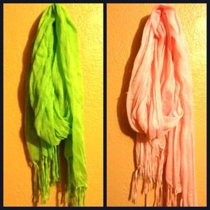 Pink and green scarf bundle