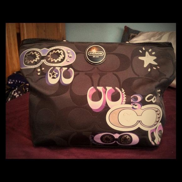 black coach purse outlet 7za1  purple and black coach purse