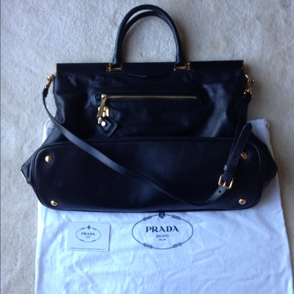 Prada Handbags - Prada black leather tote/messenger bag 4