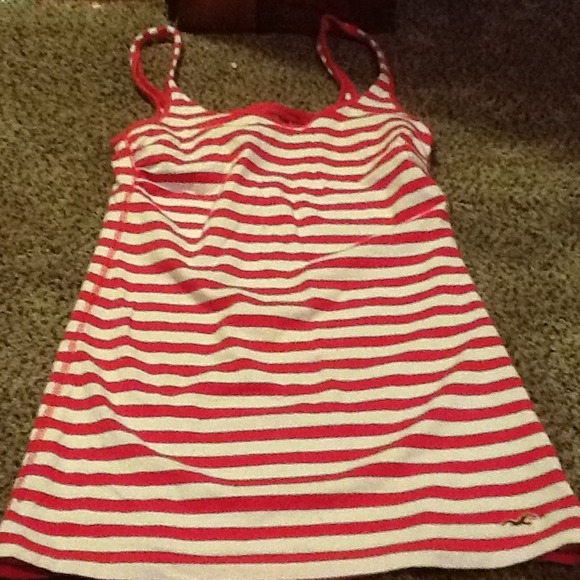 Hollister Tops - Hollister pink stripped tank top small