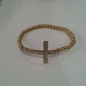 REDUCED: Gold Pave Cross Bracelet