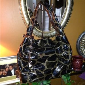 Black and taupe printed handbag